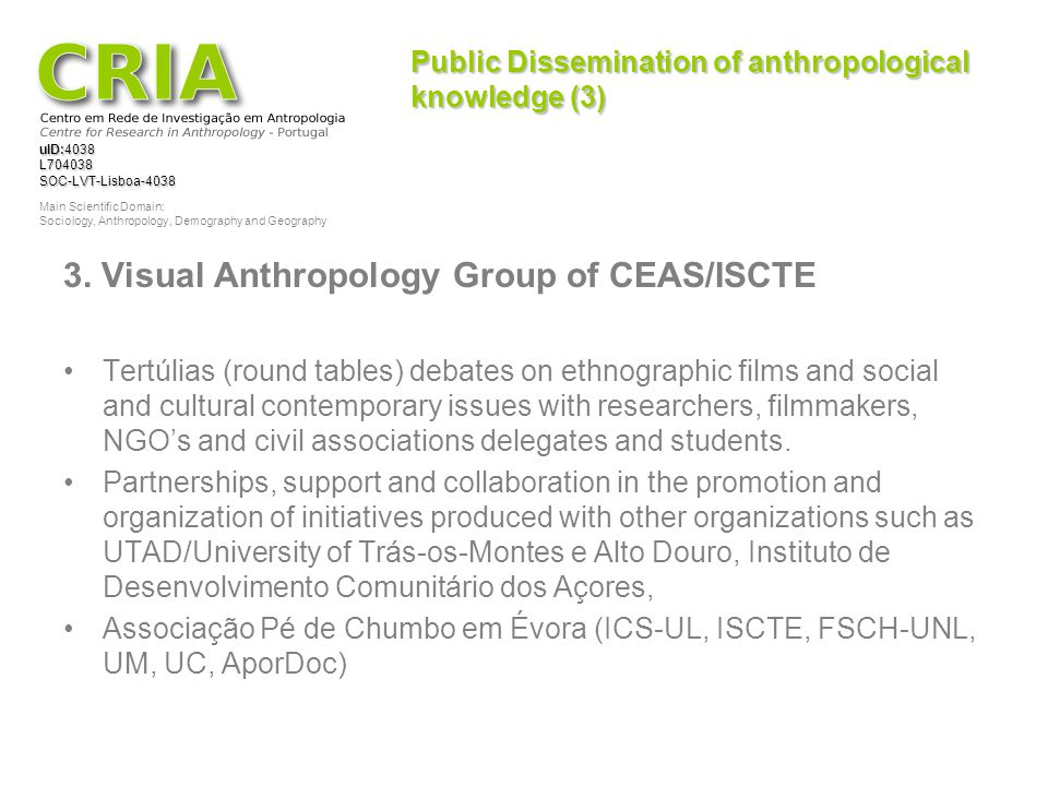 Public Dissemination of anthropological knowledge (3)