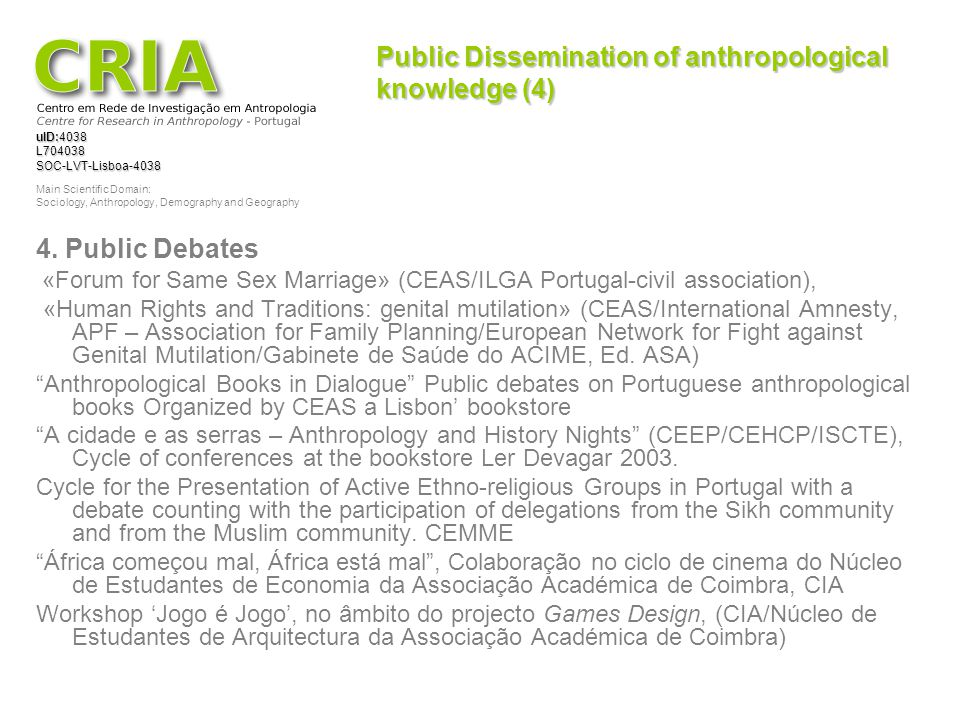 Public Dissemination of anthropological knowledge (4)