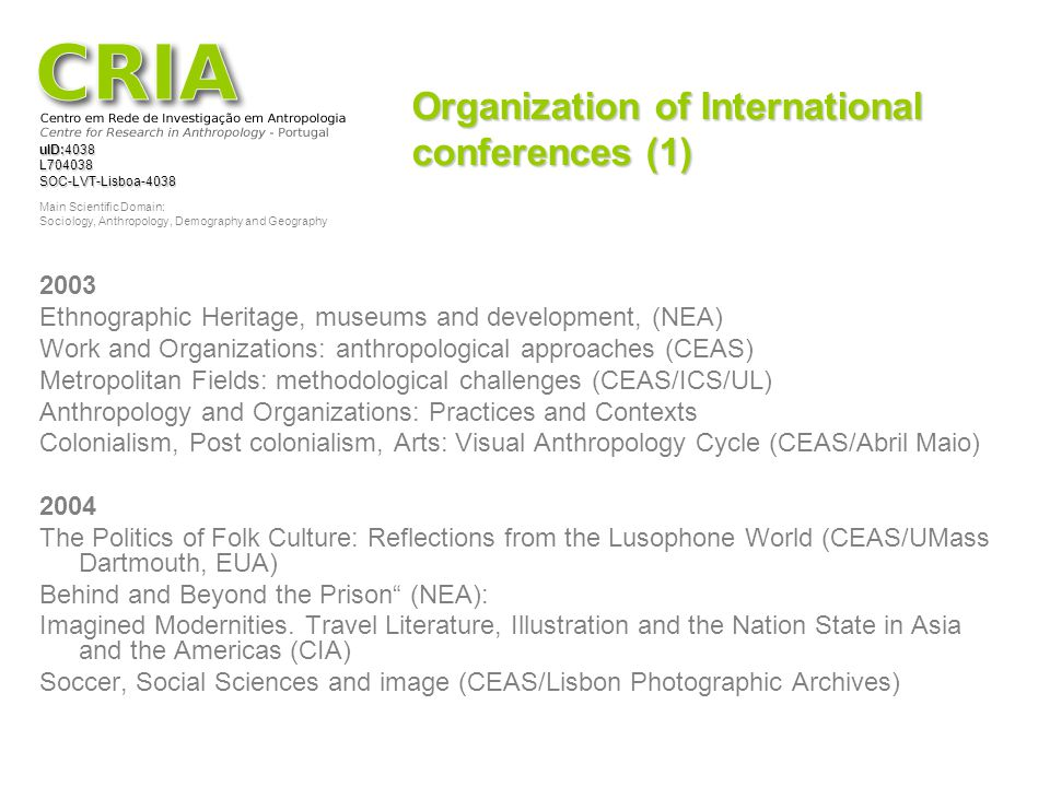 Organization of International conferences (1)
