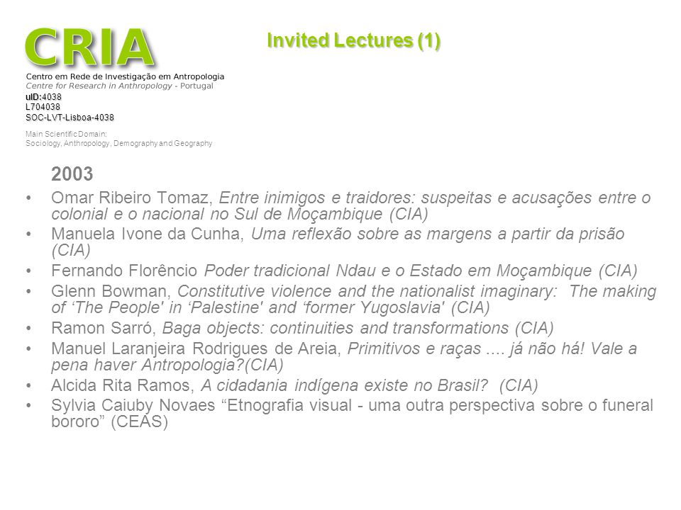 Invited Lectures (1) 2003.