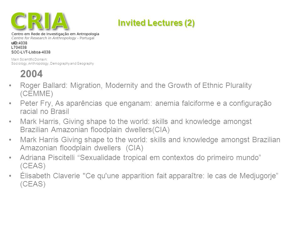 Invited Lectures (2) 2004. Roger Ballard: Migration, Modernity and the Growth of Ethnic Plurality (CEMME)