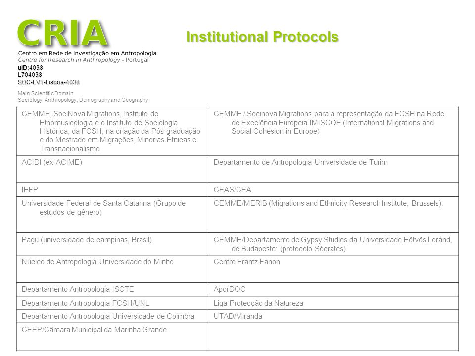 Institutional Protocols