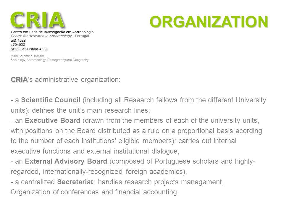ORGANIZATION CRIA's administrative organization: