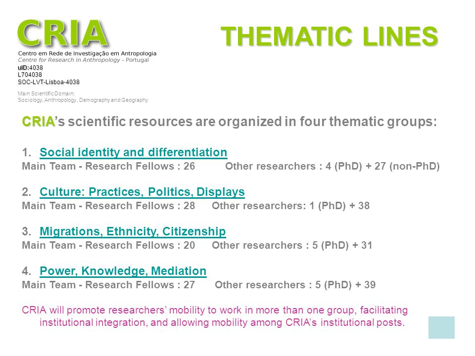 THEMATIC LINES CRIA's scientific resources are organized in four thematic groups: Social identity and differentiation.