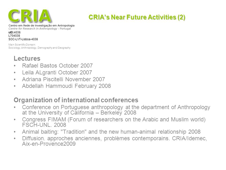 CRIA's Near Future Activities (2)