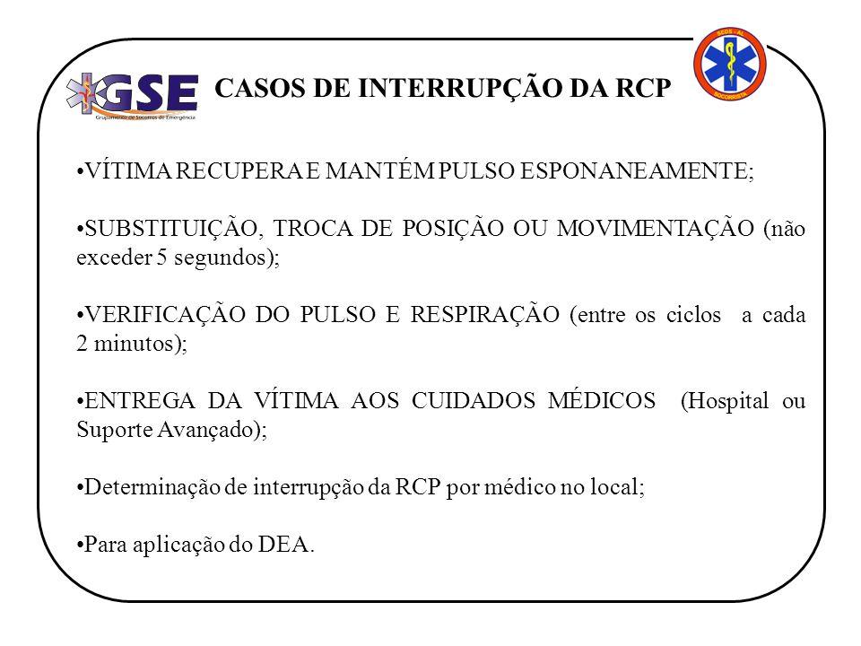 CASOS DE INTERRUPÇÃO DA RCP
