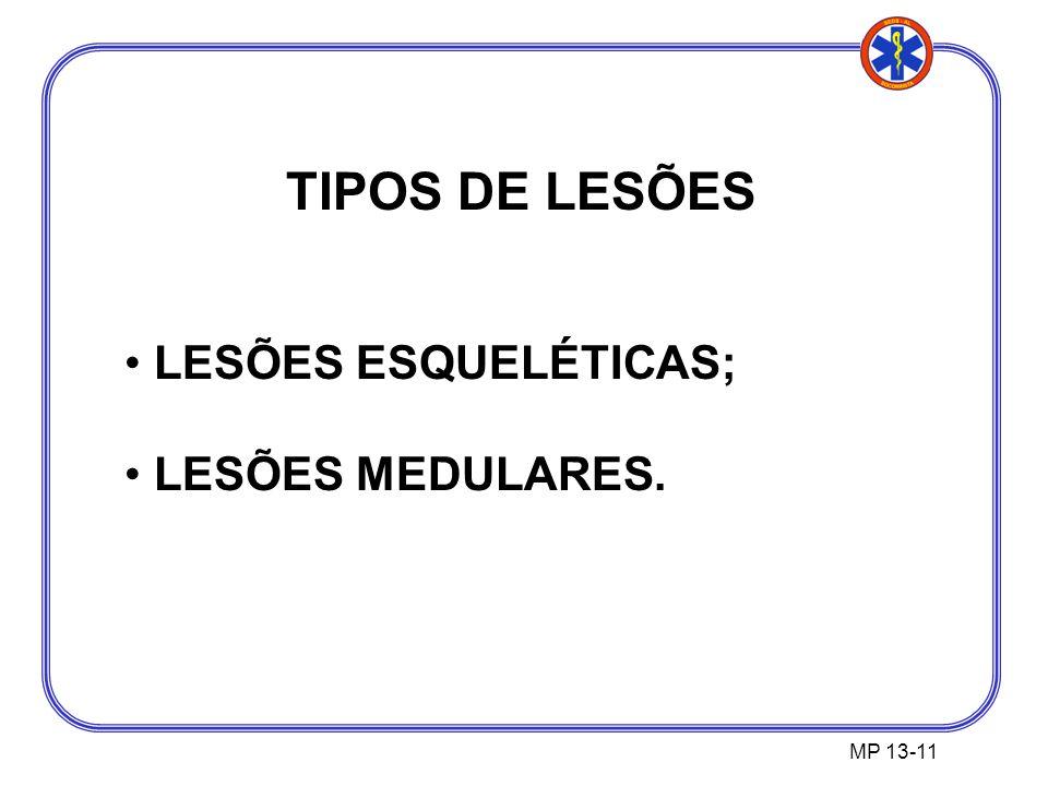 TIPOS DE LESÕES LESÕES ESQUELÉTICAS; LESÕES MEDULARES. MP 13-11