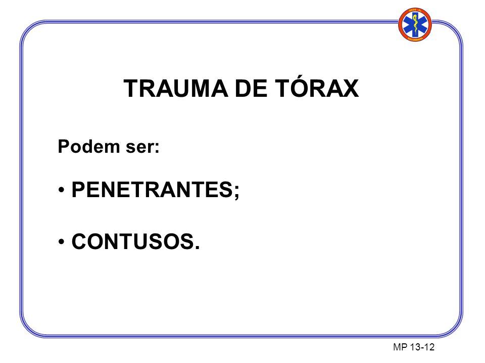 TRAUMA DE TÓRAX Podem ser: PENETRANTES; CONTUSOS. MP 13-12