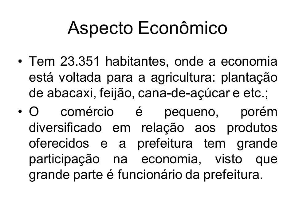 Aspecto Econômico Tem 23.351 habitantes, onde a economia está voltada para a agricultura: plantação de abacaxi, feijão, cana-de-açúcar e etc.;