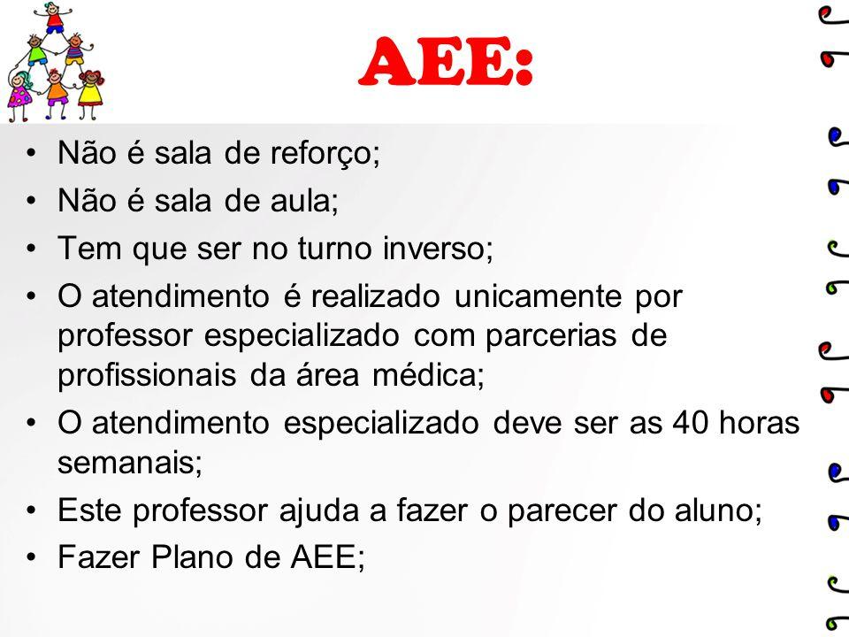 AEE: Não é sala de reforço; Não é sala de aula;