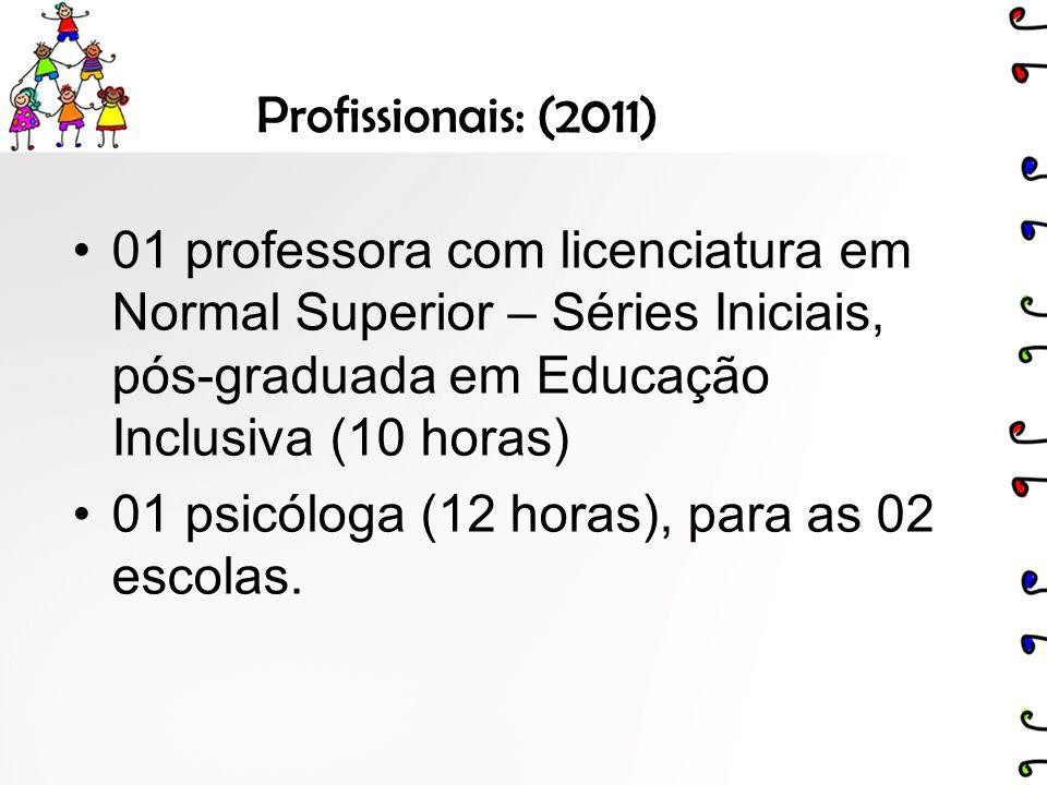 Profissionais: (2011) 01 professora com licenciatura em Normal Superior – Séries Iniciais, pós-graduada em Educação Inclusiva (10 horas)