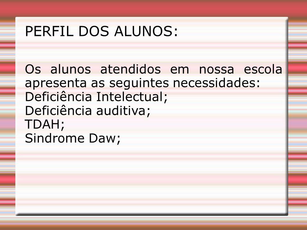 PERFIL DOS ALUNOS: Os alunos atendidos em nossa escola apresenta as seguintes necessidades: Deficiência Intelectual;