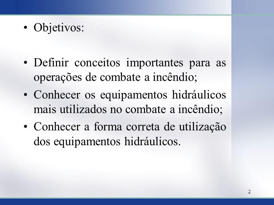 Objetivos: Definir conceitos importantes para as operações de combate a incêndio;