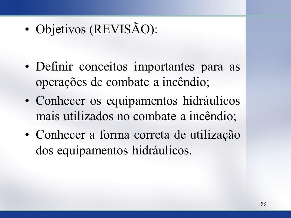 Objetivos (REVISÃO): Definir conceitos importantes para as operações de combate a incêndio;