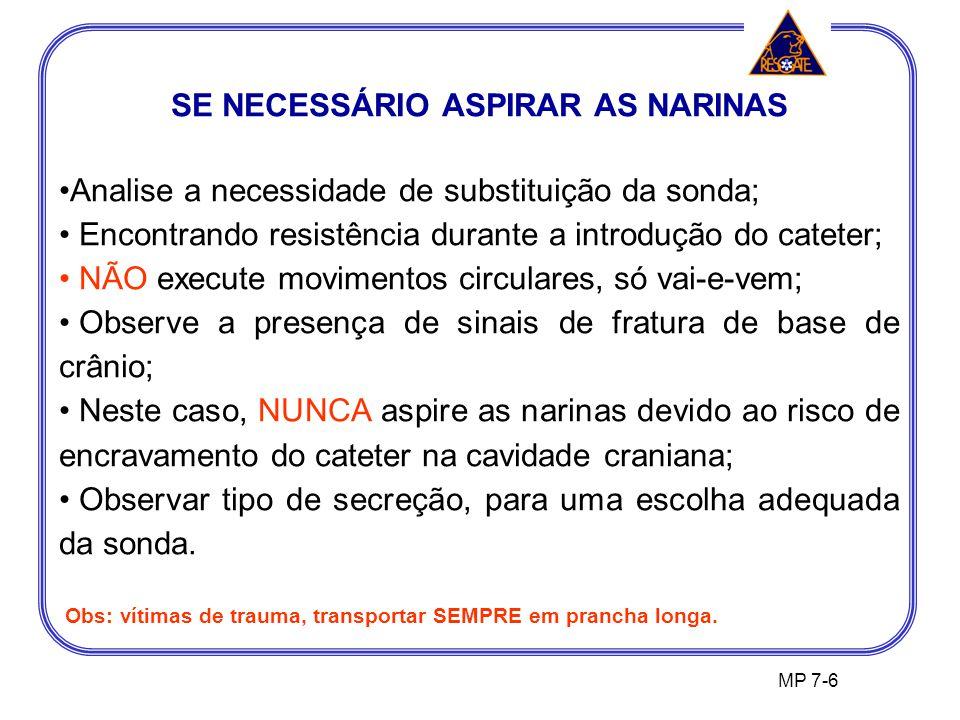 SE NECESSÁRIO ASPIRAR AS NARINAS