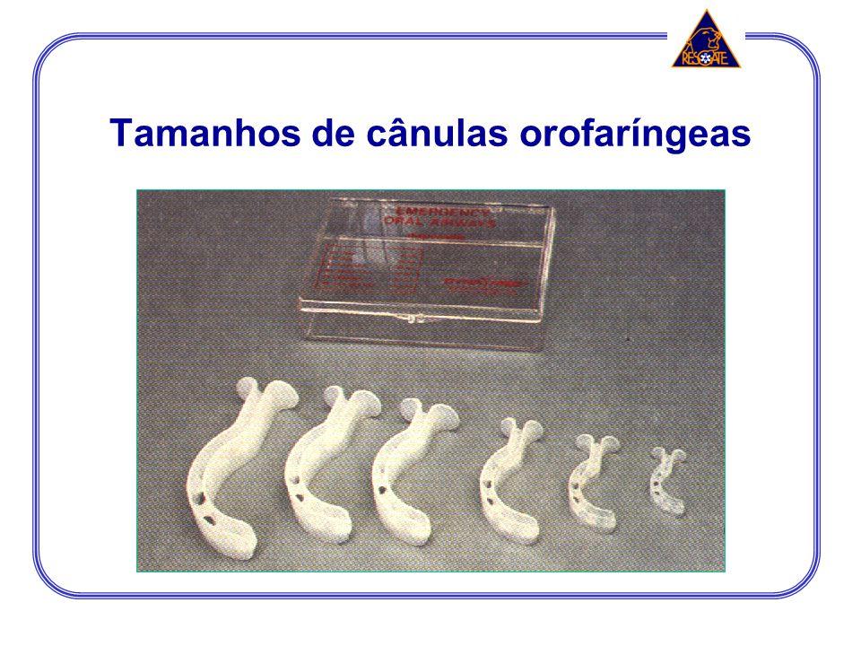 Tamanhos de cânulas orofaríngeas