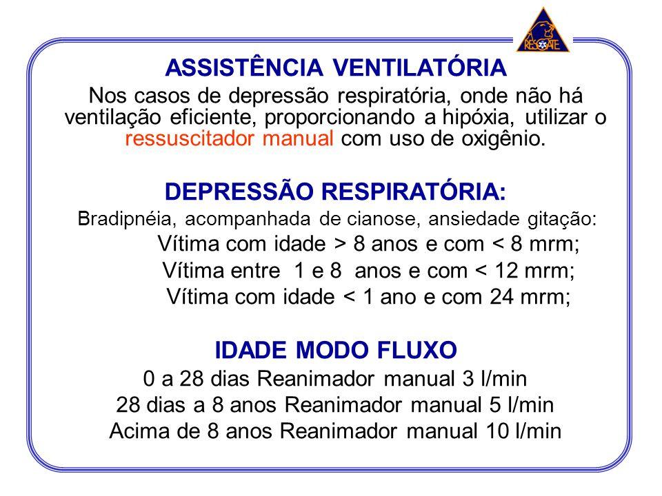 ASSISTÊNCIA VENTILATÓRIA DEPRESSÃO RESPIRATÓRIA:
