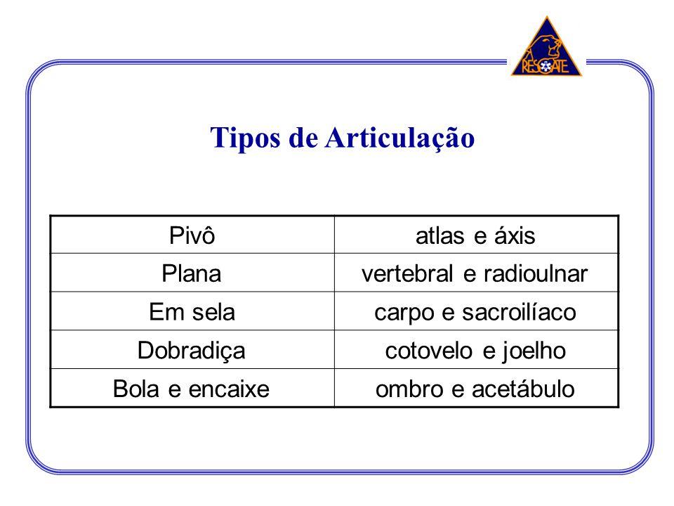 Tipos de Articulação Pivô atlas e áxis Plana vertebral e radioulnar