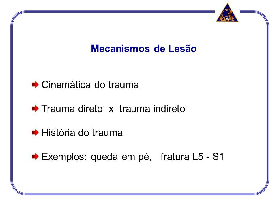 Mecanismos de Lesão Cinemática do trauma. Trauma direto x trauma indireto.