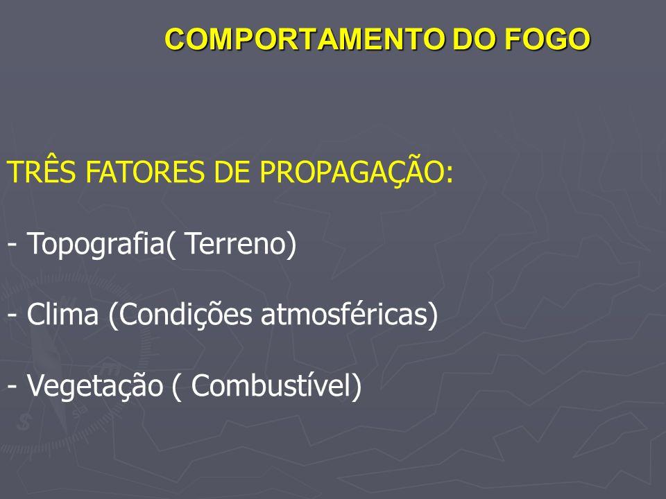 COMPORTAMENTO DO FOGO TRÊS FATORES DE PROPAGAÇÃO: Topografia( Terreno) Clima (Condições atmosféricas)