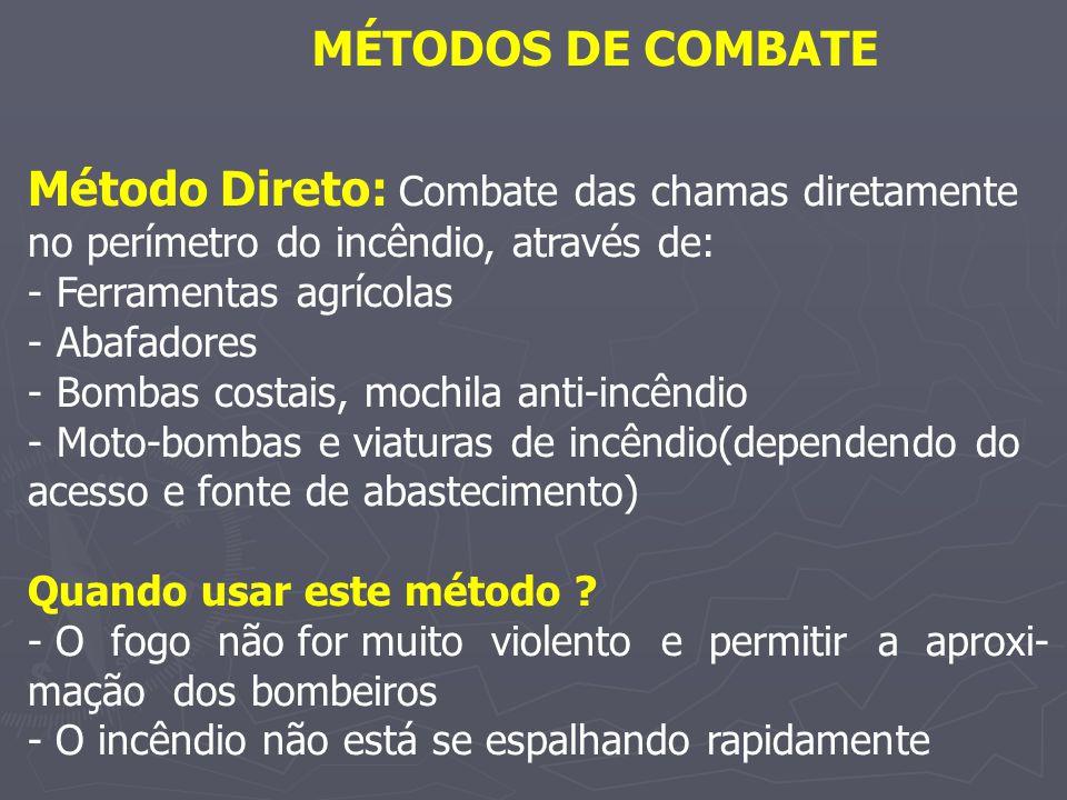 MÉTODOS DE COMBATE Método Direto: Combate das chamas diretamente no perímetro do incêndio, através de: