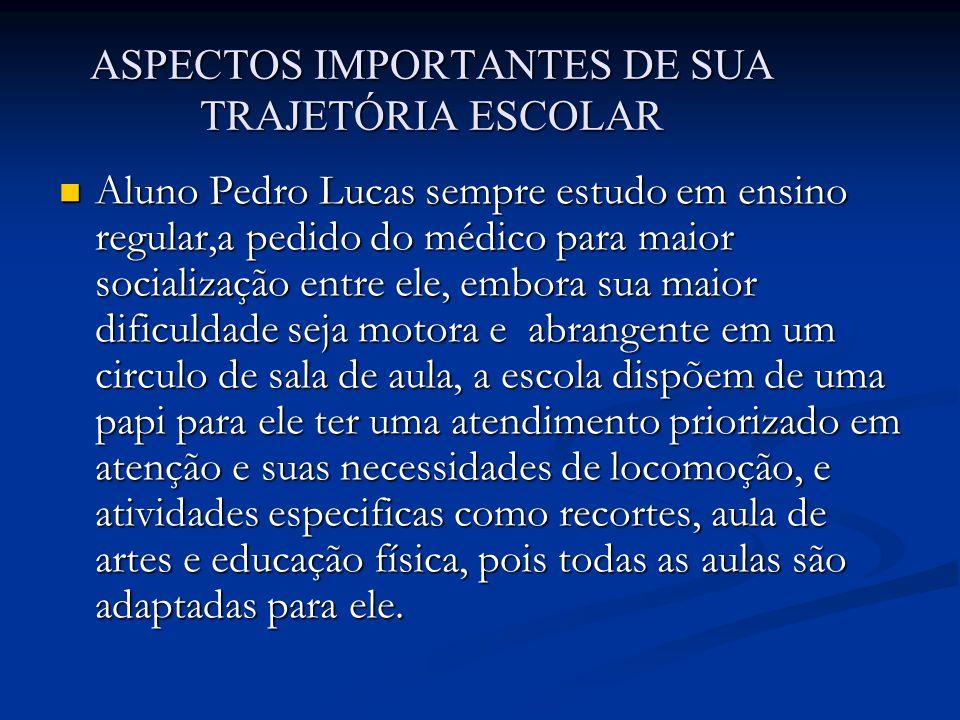 ASPECTOS IMPORTANTES DE SUA TRAJETÓRIA ESCOLAR