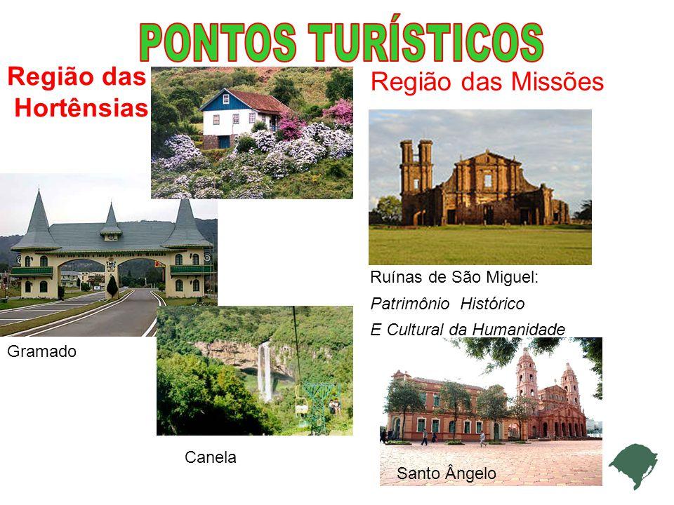 PONTOS TURÍSTICOS Região das Região das Missões Hortênsias