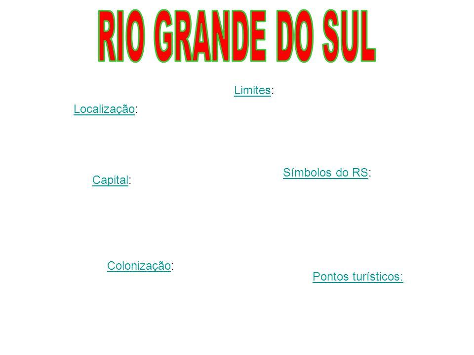 RIO GRANDE DO SUL Limites: Localização: Símbolos do RS: Capital: