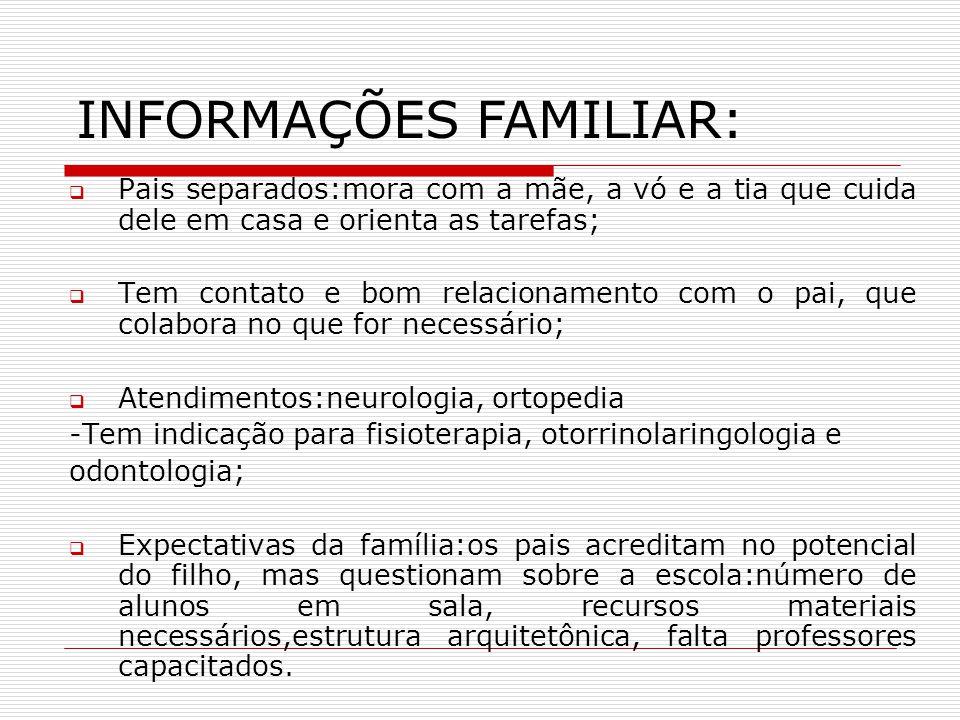 INFORMAÇÕES FAMILIAR: