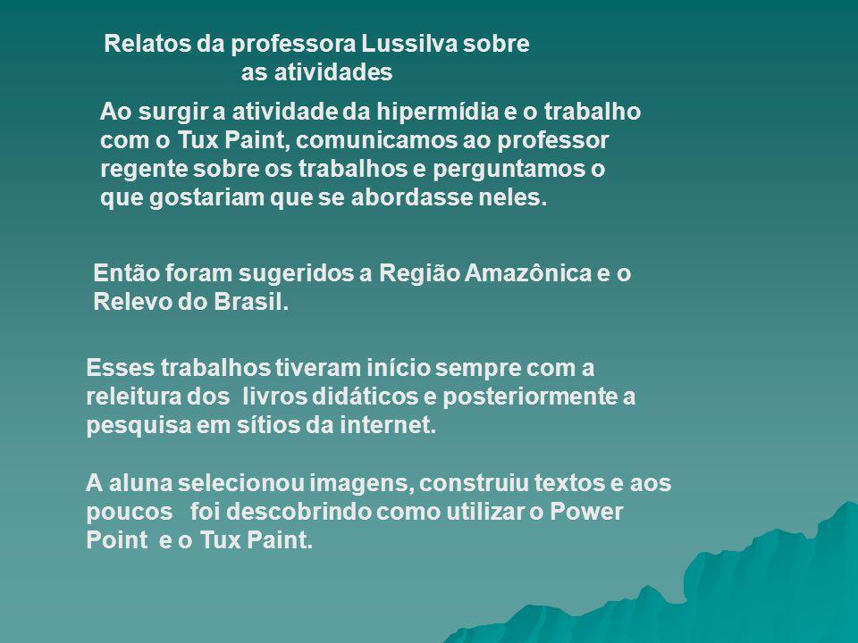 Relatos da professora Lussilva sobre as atividades