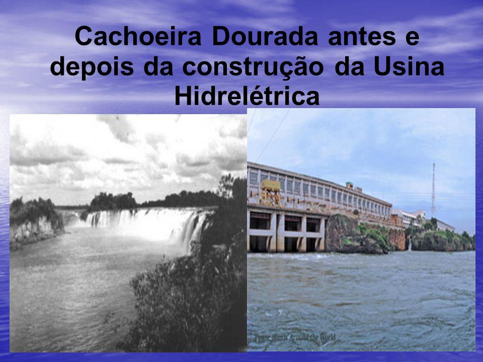 Cachoeira Dourada antes e depois da construção da Usina Hidrelétrica