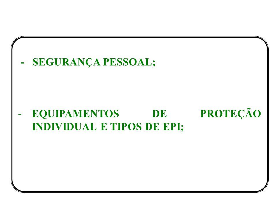 EQUIPAMENTOS DE PROTEÇÃO INDIVIDUAL E TIPOS DE EPI;