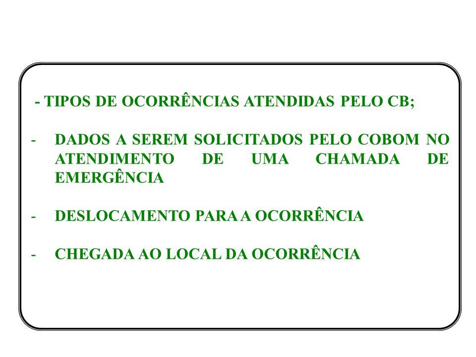 - TIPOS DE OCORRÊNCIAS ATENDIDAS PELO CB;