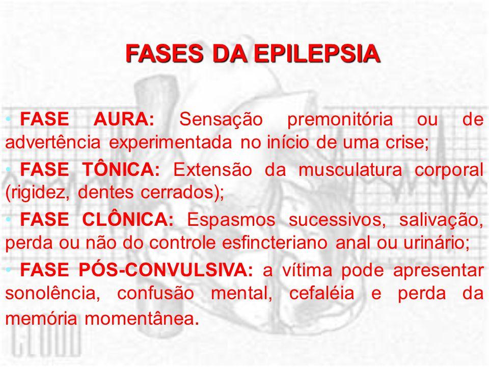 FASES DA EPILEPSIA FASE AURA: Sensação premonitória ou de advertência experimentada no início de uma crise;