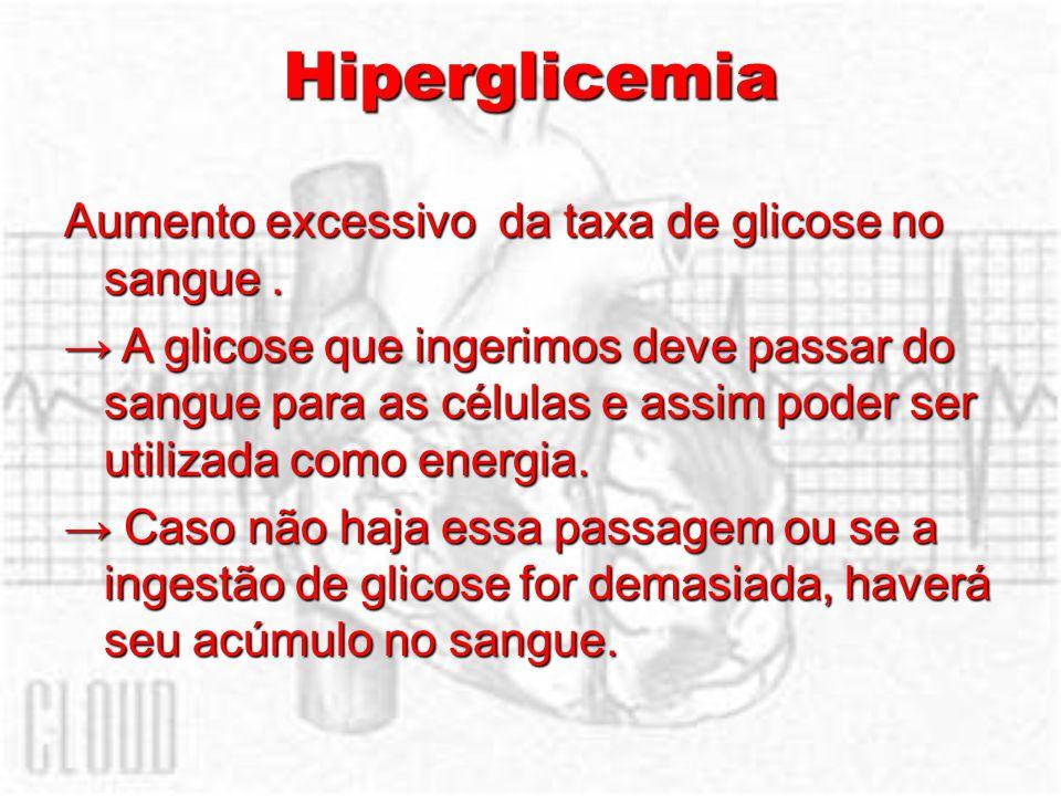 Hiperglicemia Aumento excessivo da taxa de glicose no sangue .