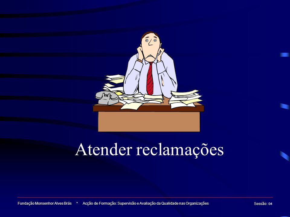 Atender reclamações Fundação Monsenhor Alves Brás * Acção de Formação: Supervisão e Avaliação da Qualidade nas Organizações.
