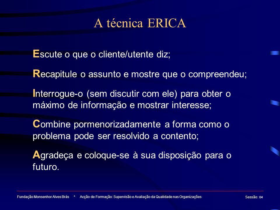 A técnica ERICA Escute o que o cliente/utente diz;