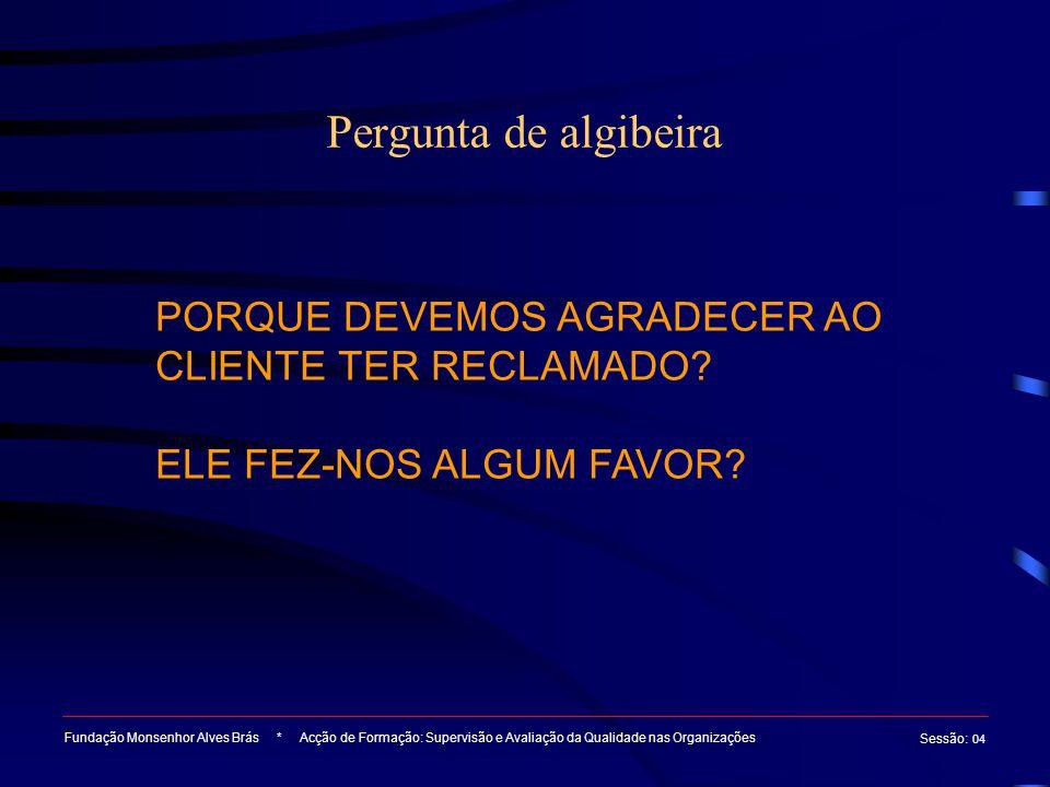 Pergunta de algibeira PORQUE DEVEMOS AGRADECER AO CLIENTE TER RECLAMADO ELE FEZ-NOS ALGUM FAVOR