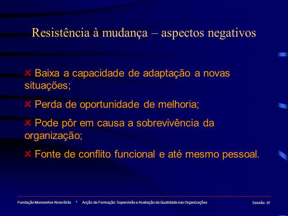 Resistência à mudança – aspectos negativos