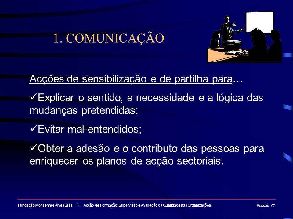 1. COMUNICAÇÃO Acções de sensibilização e de partilha para…