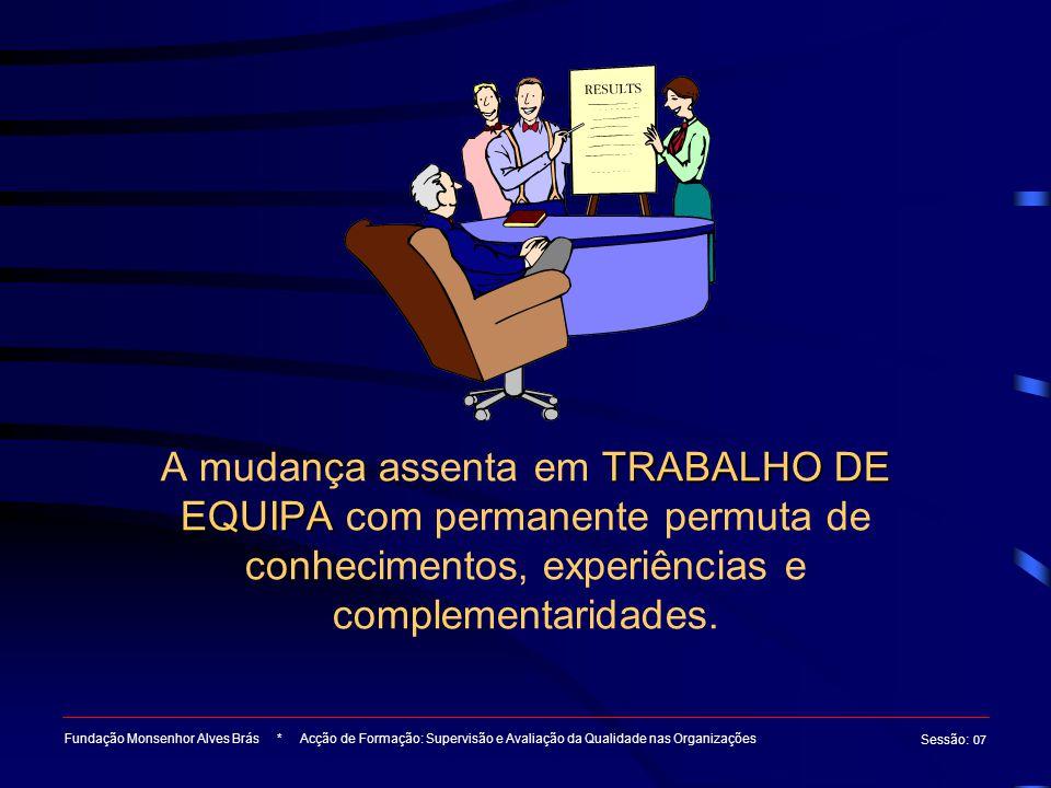 A mudança assenta em TRABALHO DE EQUIPA com permanente permuta de conhecimentos, experiências e complementaridades.