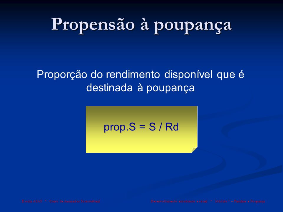 Proporção do rendimento disponível que é destinada à poupança
