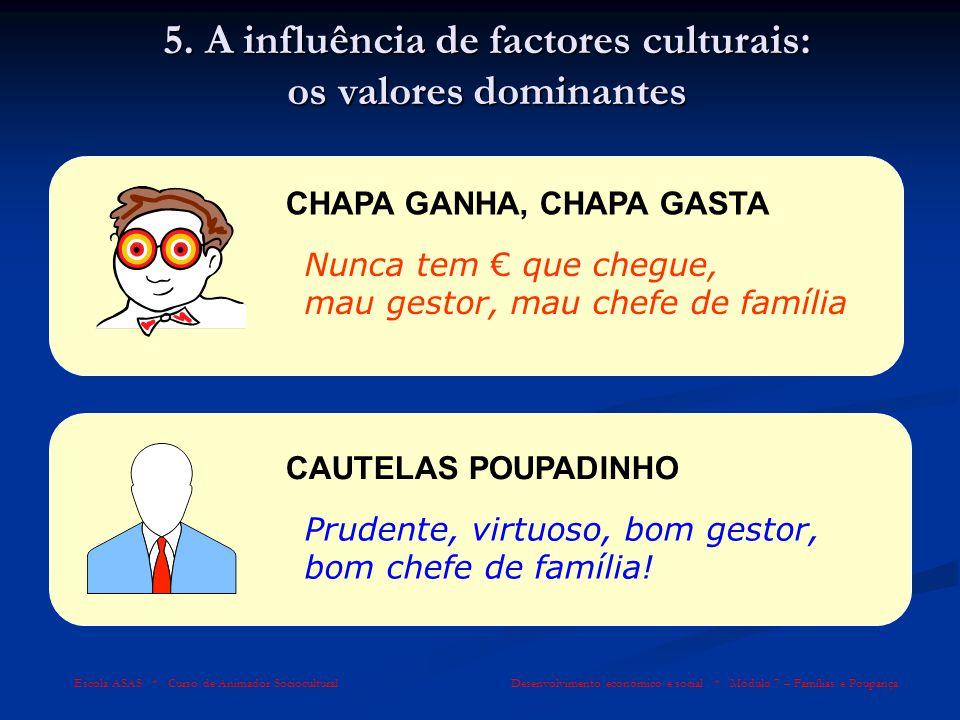 5. A influência de factores culturais: os valores dominantes
