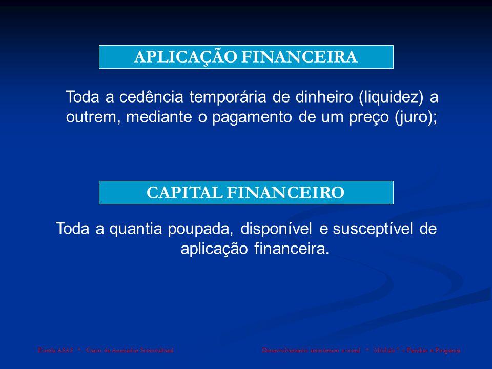 APLICAÇÃO FINANCEIRA CAPITAL FINANCEIRO