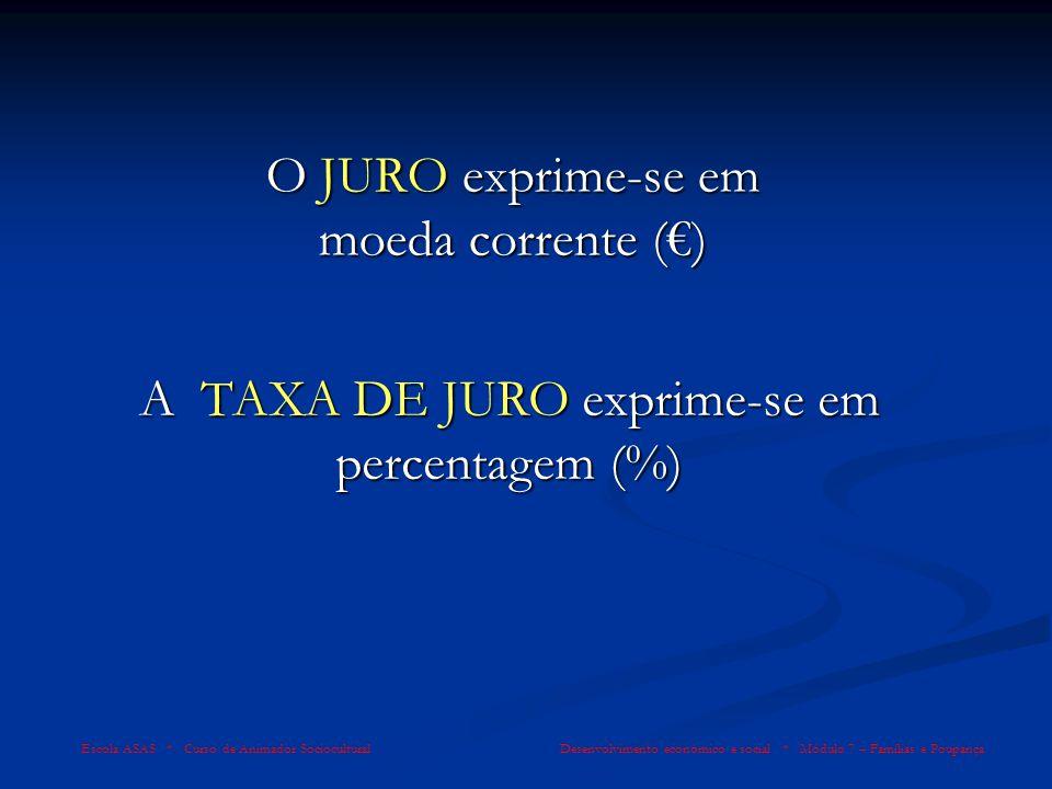 O JURO exprime-se em moeda corrente (€)