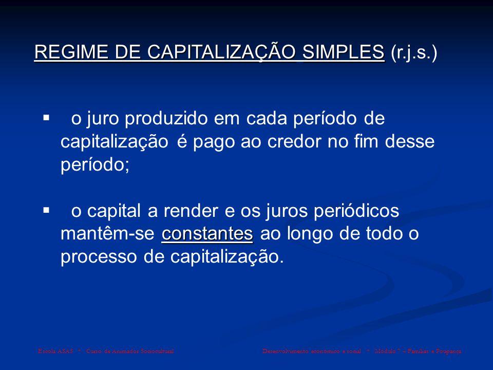 REGIME DE CAPITALIZAÇÃO SIMPLES (r.j.s.)