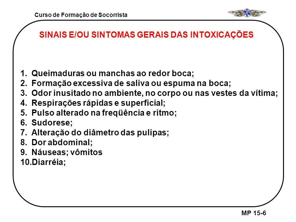 SINAIS E/OU SINTOMAS GERAIS DAS INTOXICAÇÕES