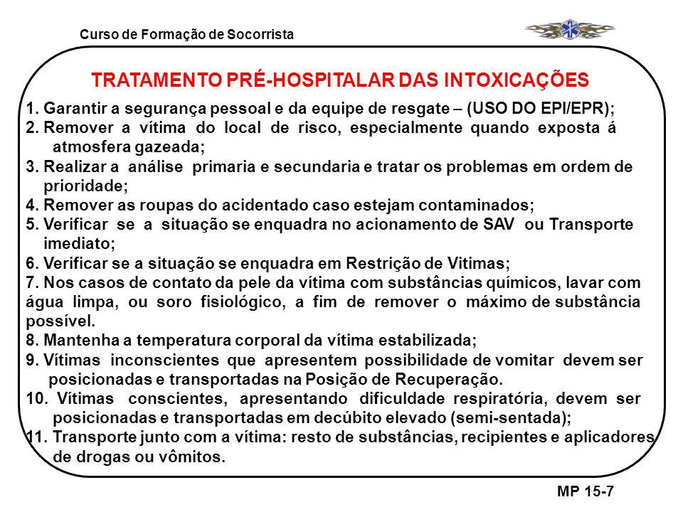 TRATAMENTO PRÉ-HOSPITALAR DAS INTOXICAÇÕES