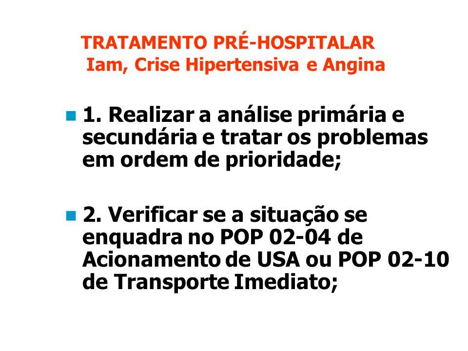 TRATAMENTO PRÉ-HOSPITALAR Iam, Crise Hipertensiva e Angina