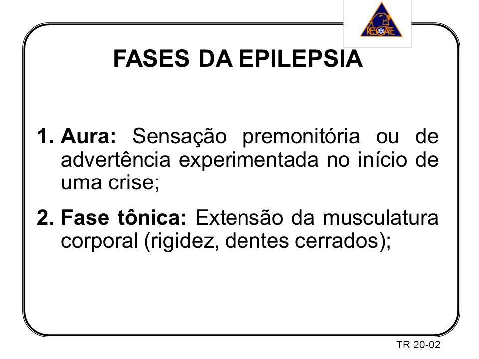 FASES DA EPILEPSIA Aura: Sensação premonitória ou de advertência experimentada no início de uma crise;